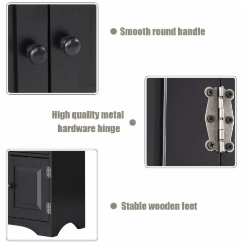 Costway Accent Storage Cabinet Adjustable Shelves Antique 2 Door Floor Cabinet Black Perspective: bottom