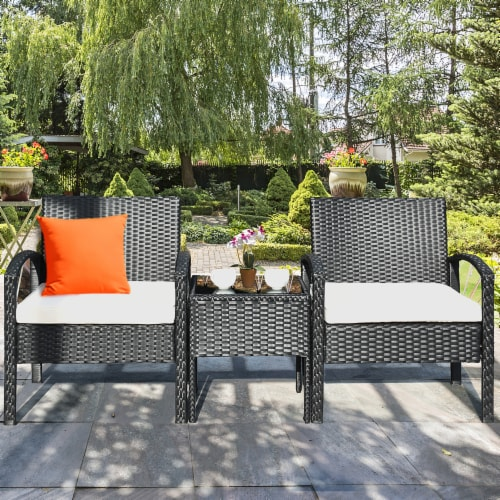 Costway 3PCS Patio Rattan Furniture Set Table & Chairs Set with Coushions Outdoor Perspective: bottom