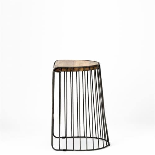 Merana Seagram 26.5  Seat Height Brown Wood Seat Black Metal Frame Stool Perspective: bottom