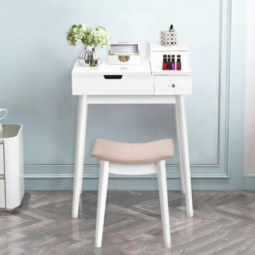 Costway Vanity Dressing Table Flip Desk Furniture Stool 2 White Perspective: bottom