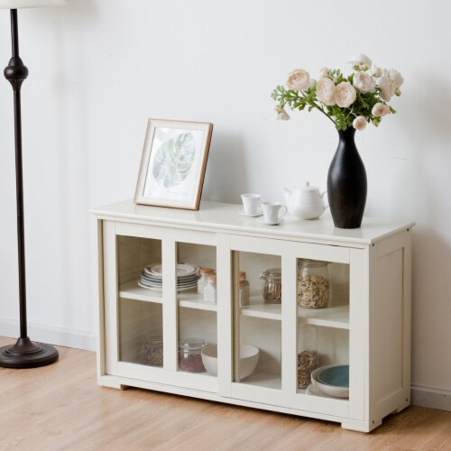 Costway Storage Cabinet Sideboard Buffet Cupboard Glass Sliding Door Pantry Kitchen Off-White Perspective: bottom