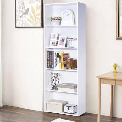 Costway 5-Shelf Storage Bookcase Modern Multi-Functional Display Cabinet Furniture White Perspective: bottom