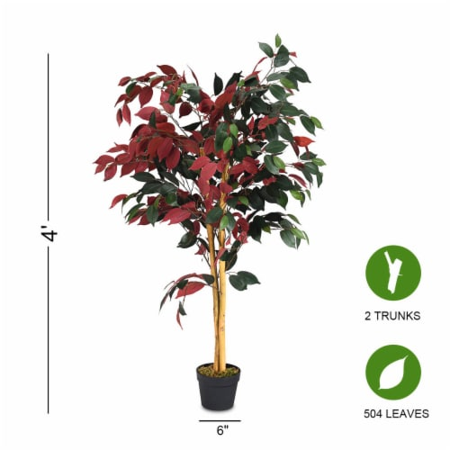 Gymax Artificial Capensia Bush Home Decor 4 Feet Red Green Leaves Perspective: bottom