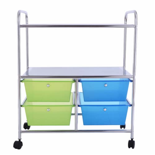 Gymax Rolling Storage Cart Metal Rack Shelf 4 Drawers Home Office Furniture Perspective: bottom