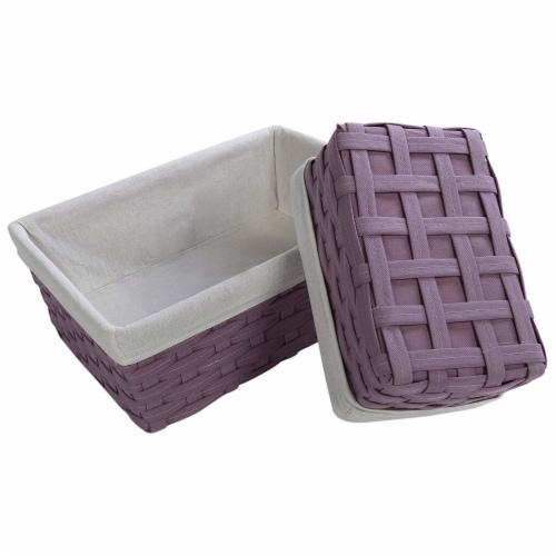 Juvale Nesting Baskets, Woven Storage Baskets (Lavender, 5 Piece Set) Perspective: bottom