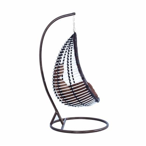 LeisureMod Modern Brown Wicker / Rattan Hanging Egg Swing Chair Indoor/Outdoor Perspective: bottom