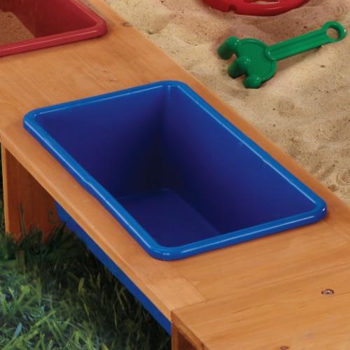 KidKraft Outdoor Children's Sandbox with Canopy - Navy & White Perspective: bottom