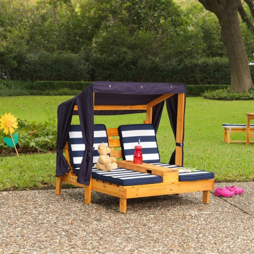 KidKraft Children's Double Chaise Lounge with Cup Holders - Honey & Navy Perspective: bottom