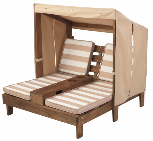 KidKraft Children's Double Chaise Lounge with Cup Holders - Espresso & Oatmeal Perspective: bottom