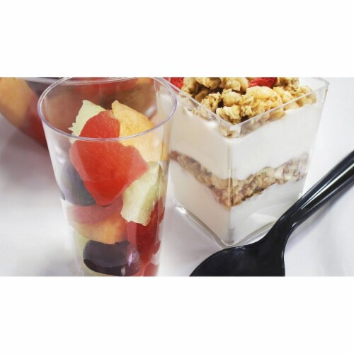 Plastic Shot Glass and Square Dessert Cups for Parties (3 Oz, 5 Oz) Perspective: bottom