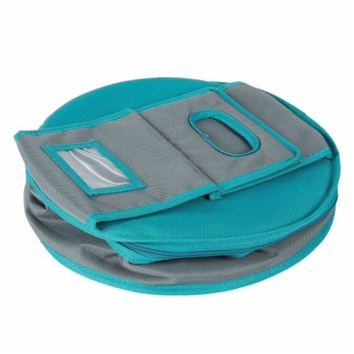 Insulated Round Thermal Casserole Food Carrier for Lunch, Teal and Grey Perspective: bottom
