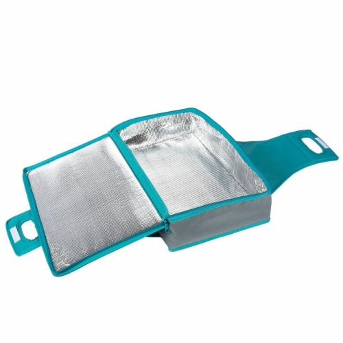 Insulated Rectangle Thermal Casserole Dish Carrier, Teal and Grey, 16 x 10 x 4 inches Perspective: bottom