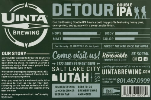 Uinta Brewing Co Detour Double IPA Perspective: bottom