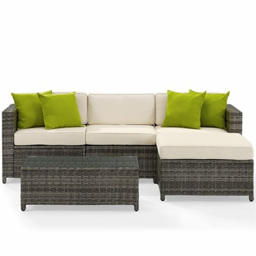 Sea Island Resin 5 Piece Right Facing Patio Sectional Set in Gray-Crosley Perspective: bottom