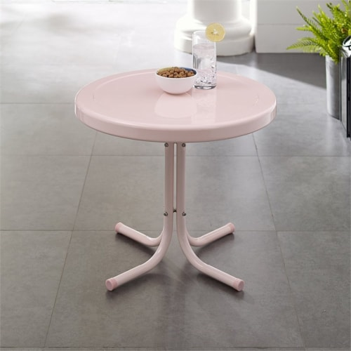 Furniture Retro Sturdy Steel Patio End Table in Pink-Crosley Perspective: bottom