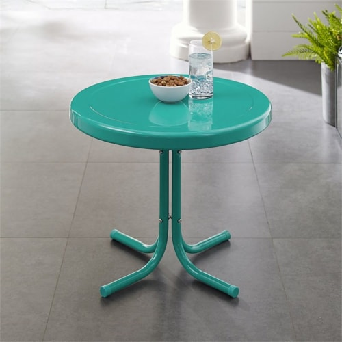 Furniture Retro Sturdy Steel Metal Patio End Table in Surf Green-Crosley Perspective: bottom