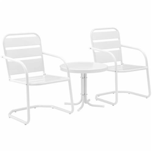 Crosley Brighton 3 Piece 22  Round Metal Patio Conversation Set in White Perspective: bottom