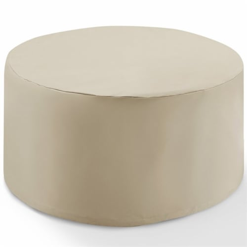 Crosley Catalina Round Patio Coffee Table Cover in Tan Perspective: bottom