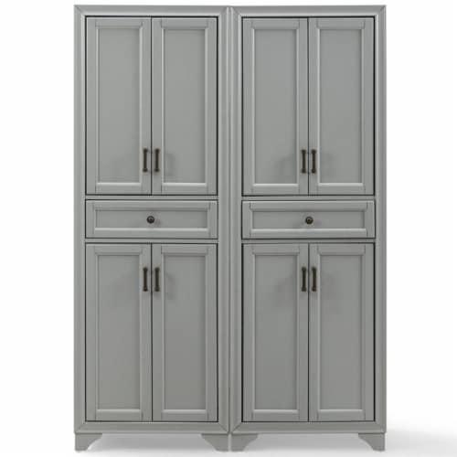 Crosley Tara 4 Door Pantry Set in Distressed Gray (Set of 2) Perspective: bottom