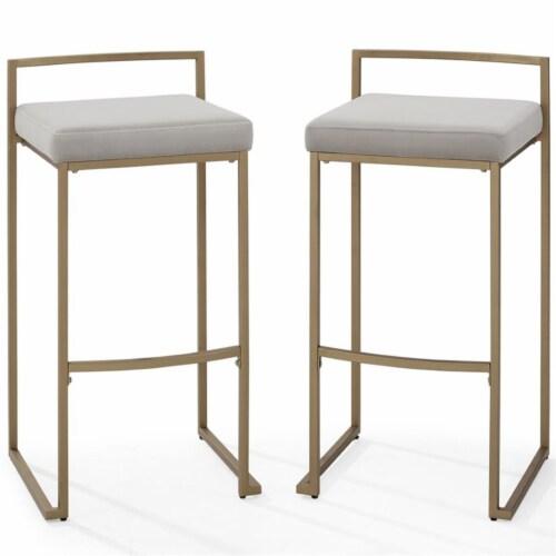Crosley Furniture Harlowe Modern Steel Framed Velvet Bar Stools, Gray (Set of 2) Perspective: bottom
