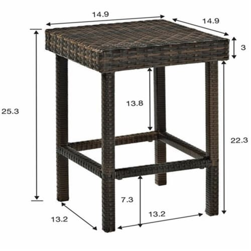 """Palm Harbor Patio Wicker 24"""""""" Counter Height Stool (Set of 2) - Crosley Perspective: bottom"""