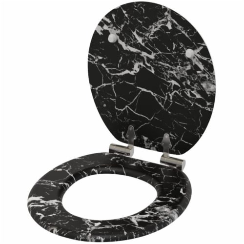 Sanilo 251 Round Soft Close Molded Wood Adjustable Toilet Seat, Marble Black Perspective: bottom