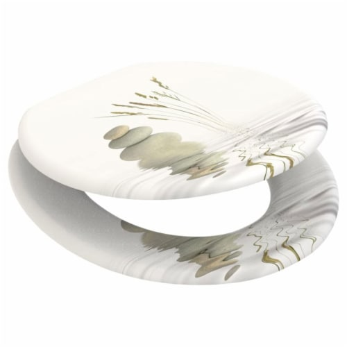 Sanilo 161 Round Soft Close Molded Wood Adjustable Toilet Seat, Balance Stones Perspective: bottom