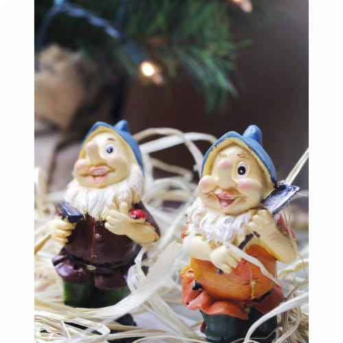Juvale Happy Mini Gnome Figurines for Fairy Gardens (4 inches, Set of 6) Perspective: bottom