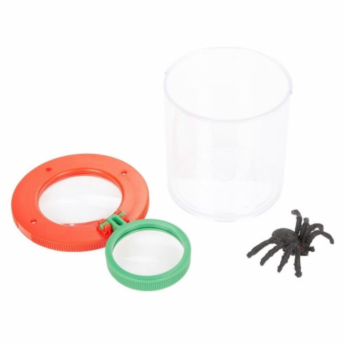 Plastic Transparent Bug Viewer Jar for Kids, with 3X Magnifying Lens,  Red and Green Perspective: bottom
