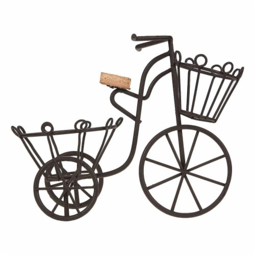 Juvale Miniature Bicycle Planter Stand for Succulents and Plants (7 x 6 x 3 in, Black) Perspective: bottom