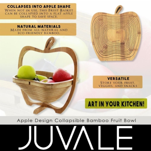 Juvale Apple Design Collapsible Bamboo Fruit Bowl - Fruit Basket, Brown, 10.5 x 11.7 x 8.7 Perspective: bottom