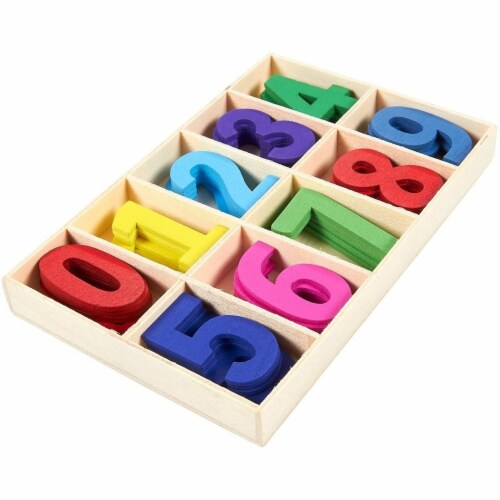 Wooden Numbers for Learning Games, Educational Tool (Rainbow Colors, 50 Pieces) Perspective: bottom