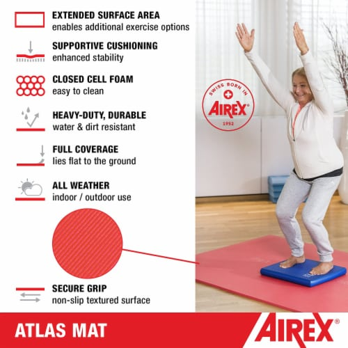 Airex Atlas Closed Cell Foam Fitness Mat for Yoga, Pilates, and Gym Use, Red Perspective: bottom