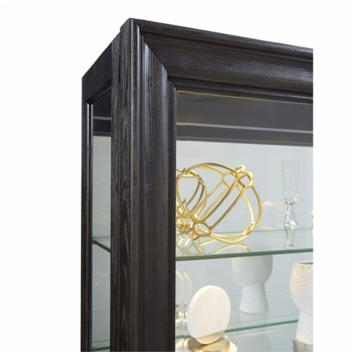 Home Fare Rockford Mirrored Two Way Sliding Door Curio Perspective: bottom