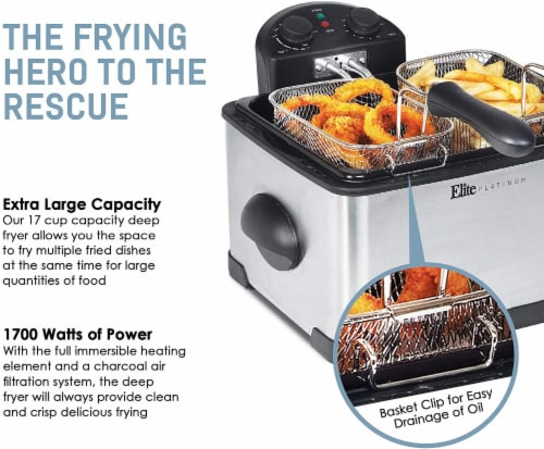 Elite Platinum Dual Deep Fryer with Baskets Perspective: bottom