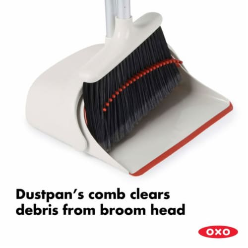OXO Large Extendable Broom and Dustpan 2 Piece Upright Cleaning Sweeper Set Perspective: bottom
