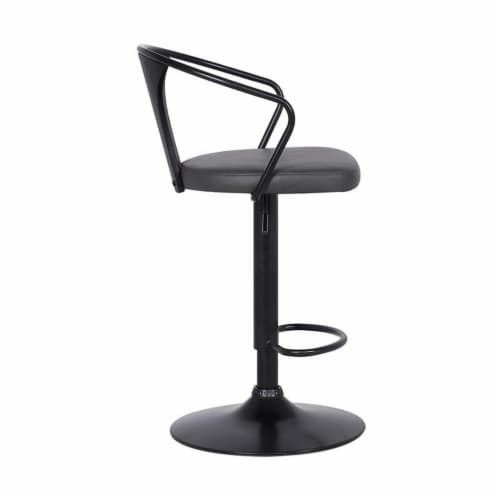 Armen Living Eagle 32 H Faux Leather Adjustable Bar Stool in Black and Gray Perspective: bottom