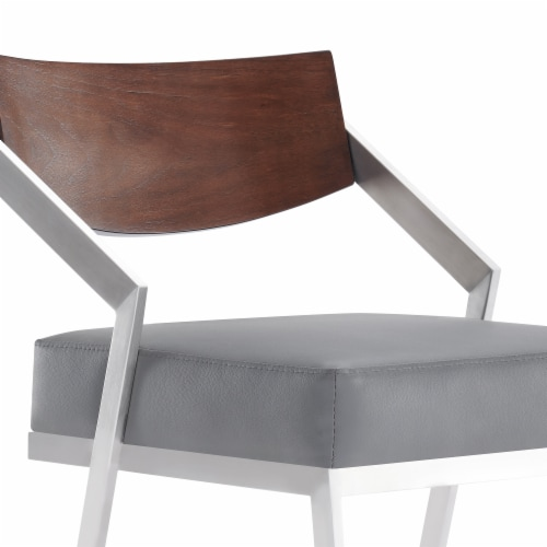 26  Barstool in Brushed Stainless Steel with Grey Faux Leather and Walnut Wood Finish Back Perspective: bottom