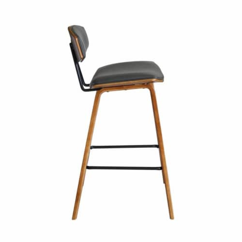 Armen Living Fox 26  Faux Leather Kitchen Counter Stool in Gray and Walnut Wood Perspective: bottom