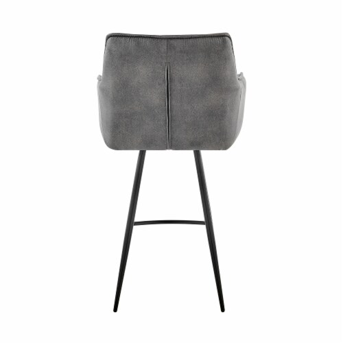 """Verona 26"""" Counter Height Bar Stool in Charcoal Fabric and Black Finish Perspective: bottom"""