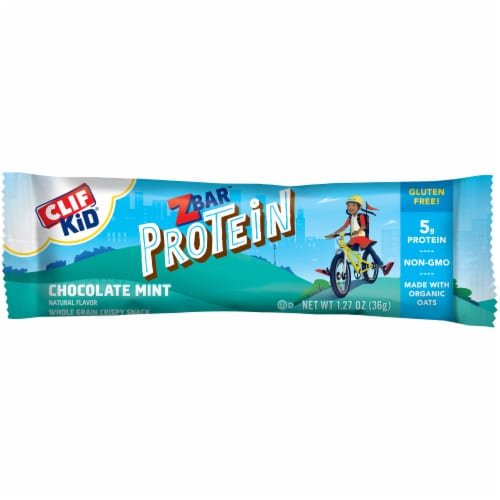 Clif Kid ZBar Protein Chocolate Mint Snack Bars Perspective: bottom