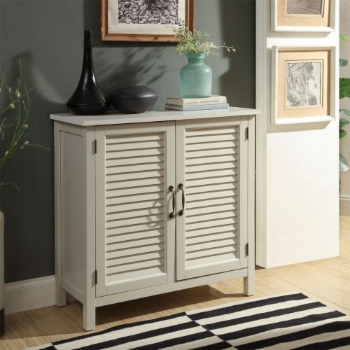 Belray Home Storage Accent Cabinet with 2 Shutter Doors and Shelf, Off White Perspective: bottom