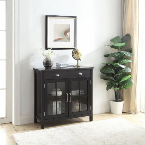 Belray Home Accent Glass Door Cabinet with Drawers and Adjustable Shelf, Black Perspective: bottom