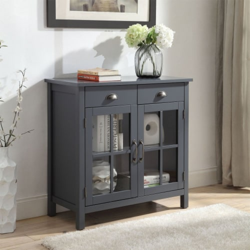 Belray Home Accent Glass Door Cabinet with Drawers and Adjustable Shelf, Gray Perspective: bottom