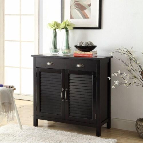 Belray Home Storage Accent Cabinet with Shutter Doors & Adjustable Shelf, Black Perspective: bottom