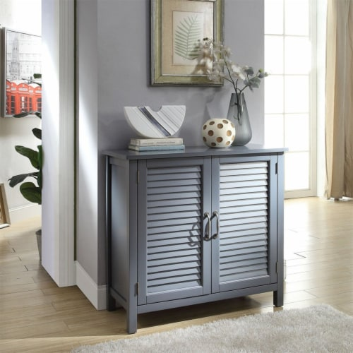 Belray Home Storage Accent Cabinet with Shutter Doors and Adjustable Shelf, Gray Perspective: bottom
