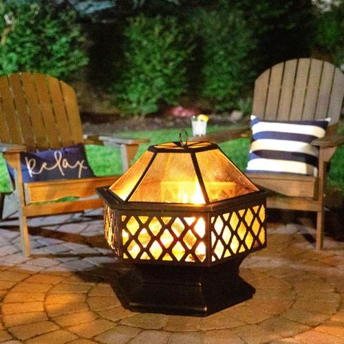 Fire Island Lattice Design Wood Burning Outdoor Fire Pit Perspective: bottom