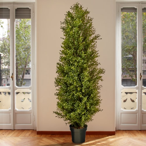National Tree Company 72 Inch Argentia Artificial Plant Tree with Green Pot Perspective: bottom