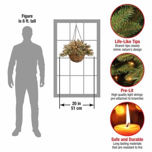 National Tree Company 20  Prelit Artificial Christmas Decor Pine Hanging Basket Perspective: bottom