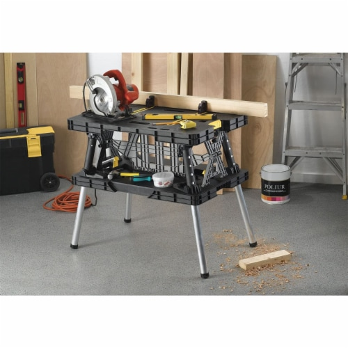 Keter Folding Portable Workbench Sawhorse - Black/Yellow Perspective: bottom